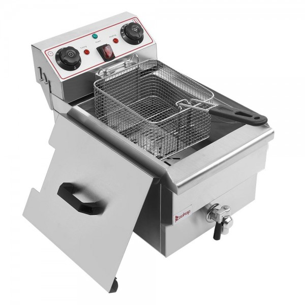 12.5QT Electric Fryer, Stainless Steel Faucet -Cylinder Deep Fryer with Basket